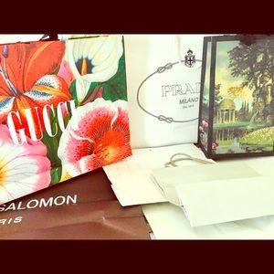 Bundle of seven designer shopping bags